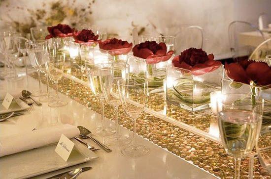 Hochzeit tisch dekoration rose licht kerzen wasser tischdekoration mit herz - Dekoration kerzen ...
