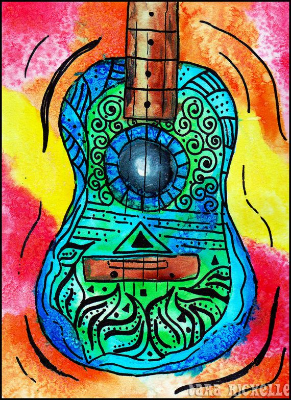 Retro guitar poster, hippie , abstract,music art,70's art ...