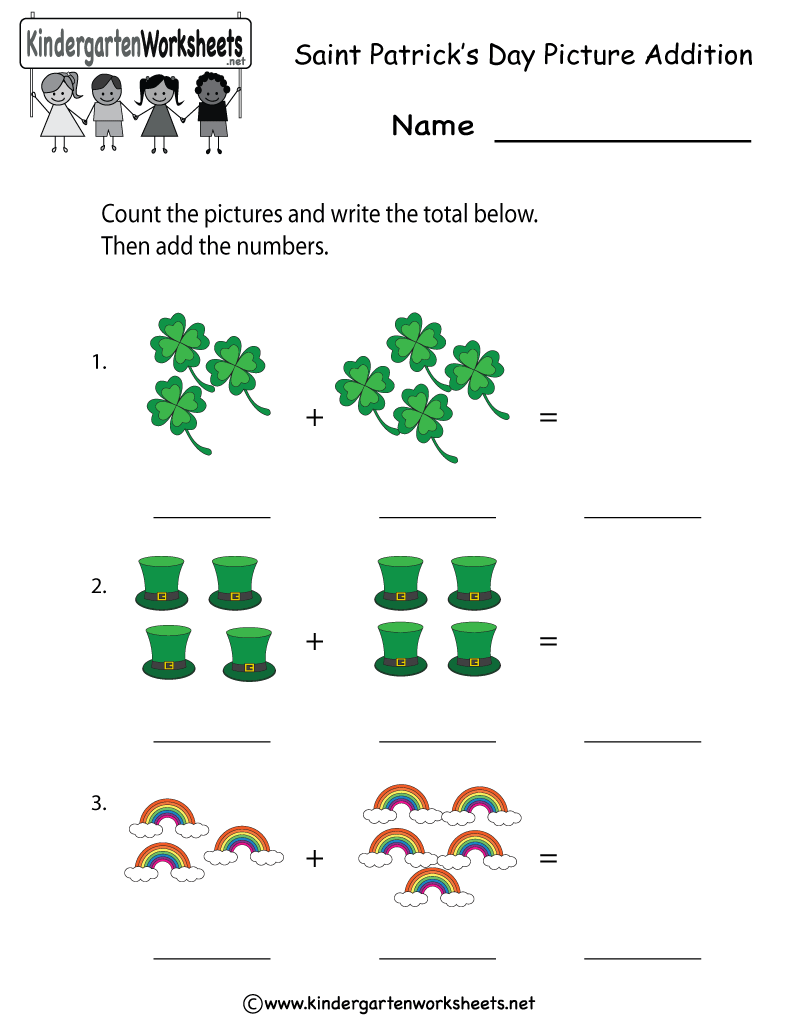 Kindergarten Saint Patrick\'s Day Addition Worksheet Printable ...