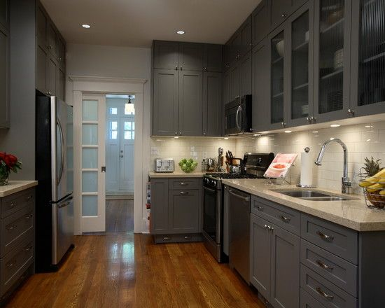 Creative Old House Restoration; Best Classic Interior: Awesome Modern Kitchen  Design Grey Cupboard Classic