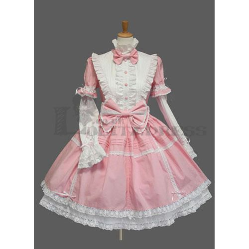 Cute Long Sleeves Stand Collar Bowknot Multi-Layer Cotton Pink and White  Sweet Lolita Dress