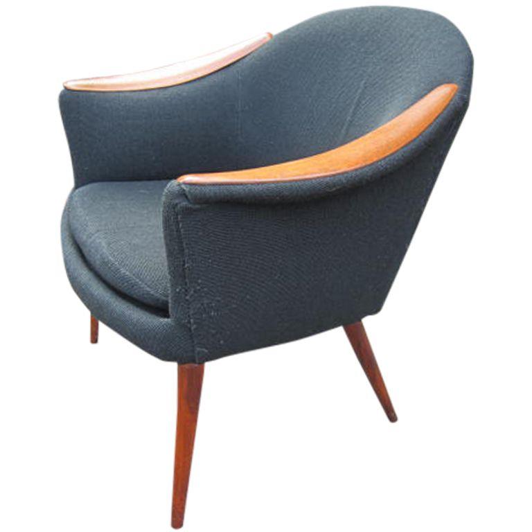 Rare Danish Modern Sculpted Teak Nanna Ditzel Arm Chair