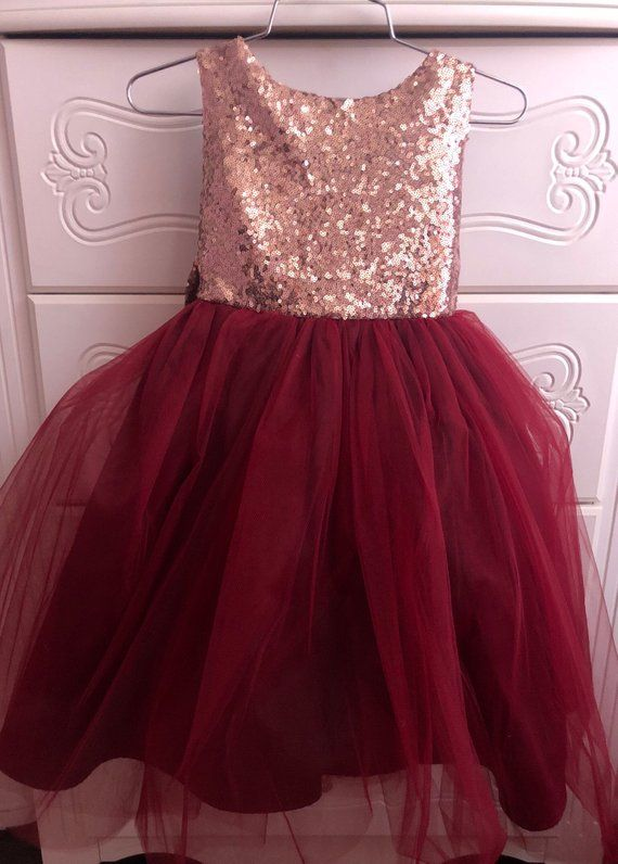 350c52c2f0e Salina Dress- Sequin Rose gold burgandy flower girl dress tulle ...