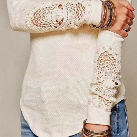 Free People Hollow Out Crochet Top These thermals are the best!!  This is an ivory top with crocheted cuffs. Never worn. XS. Free People Tops