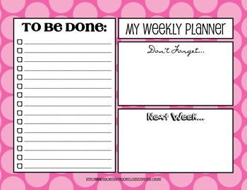Weekly Planner Template With To Do List  Pink Polka Dots With