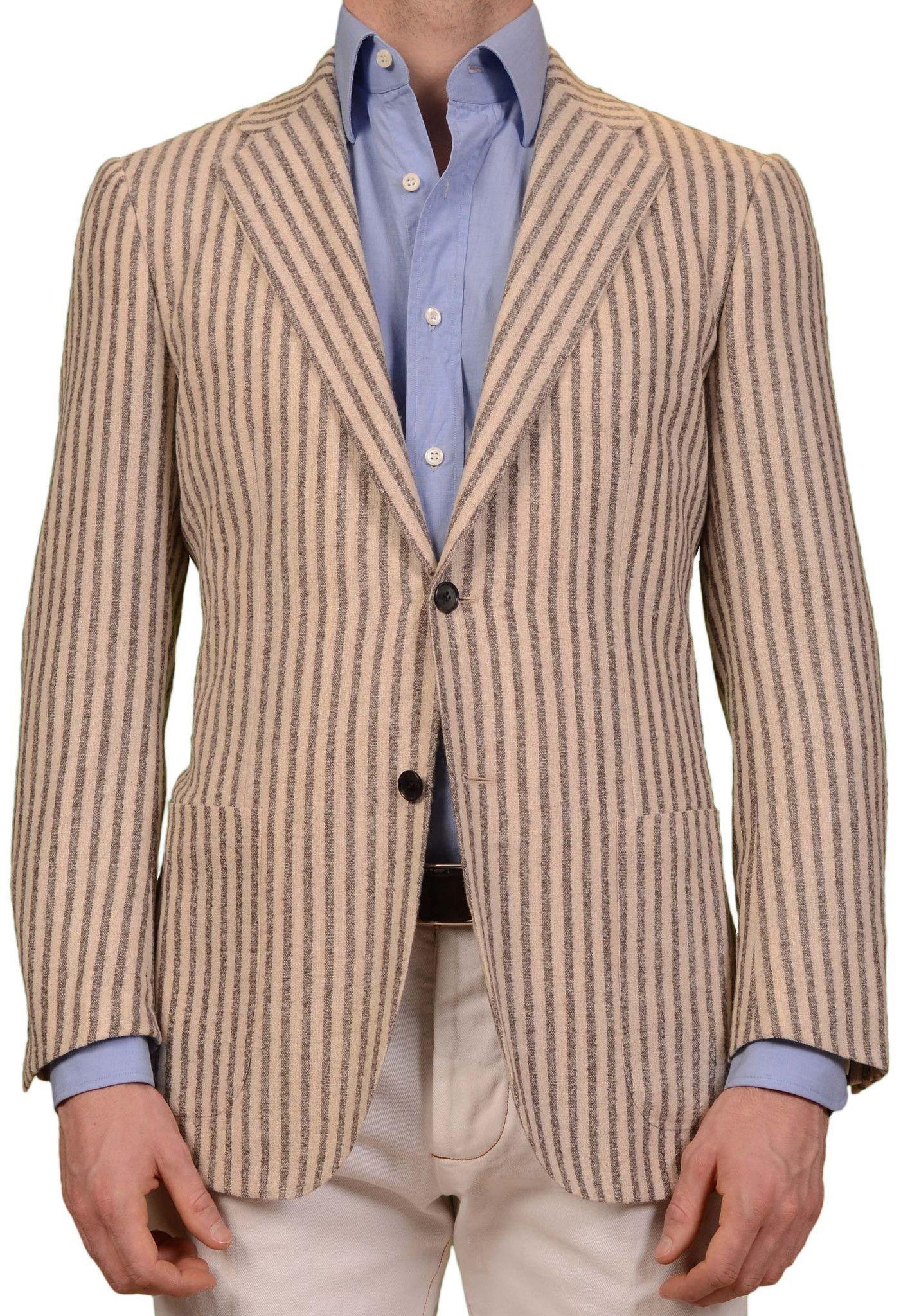 Flannel jackets with hood  SARTORIO Napoli by KITON Beige Striped Wool Alpaca Flannel Jacket