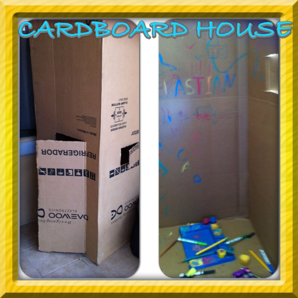 Cardboard house! Free fun for kids! Make them decorate it by themselves!