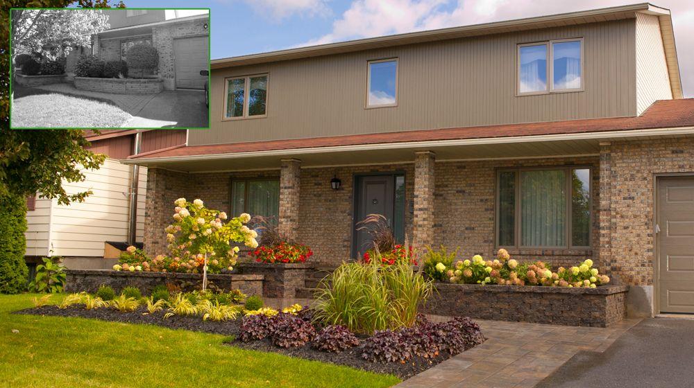 Am nagement paysager d 39 une fa ade de maison avec muret pav de b ton modulaire et v g taux - Maison modulaire beton ...