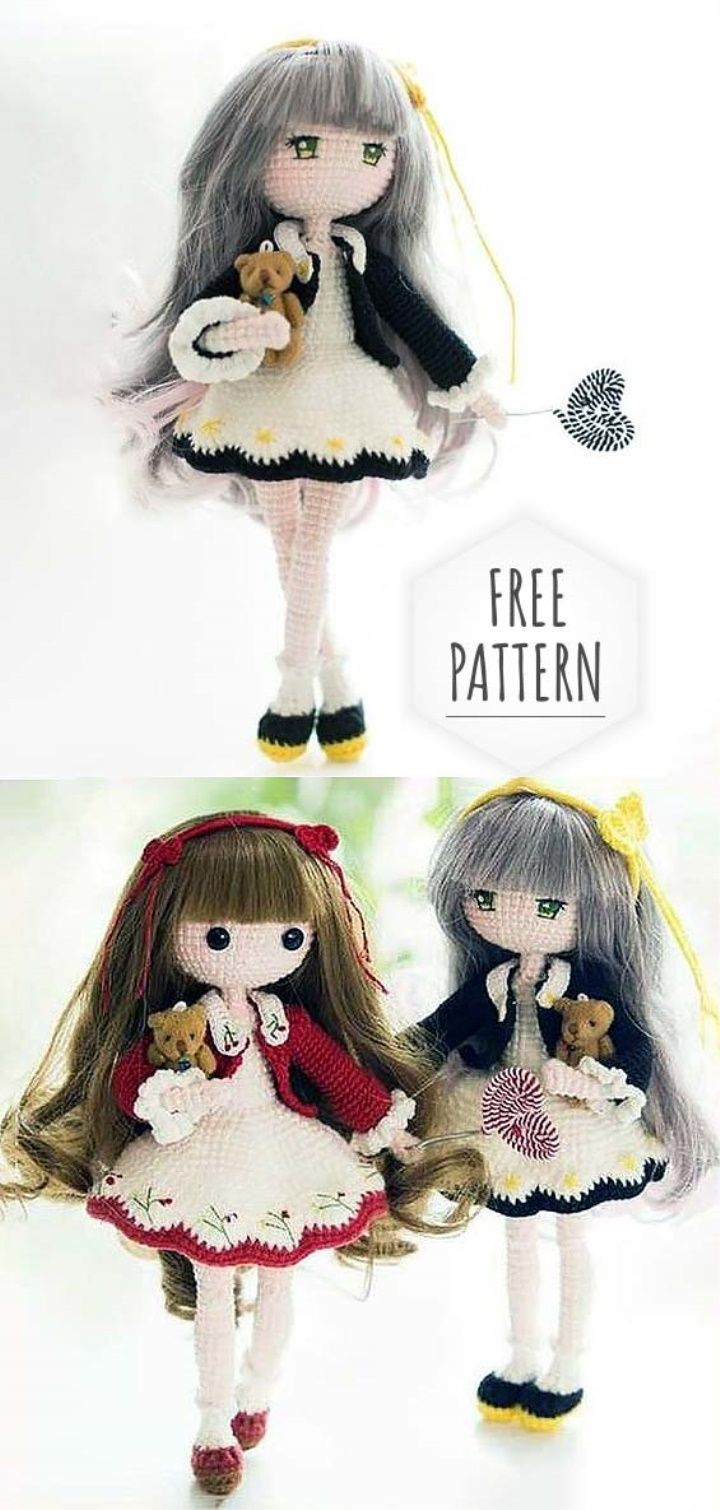 Lady Amigurumi Doll Free Pattern #knitteddollpatterns