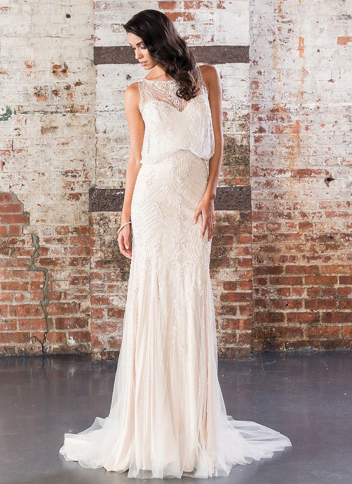 Justin Alexander Signature Spring 2017 Wedding Dresses | 1920s-Inspired Beaded Straight Gown | itakeyou.co.uk #weddingdress #weddingdresses #ballgown #wedding #ivoryweddingdress #ivory #bride #bridalgown #justinalexander