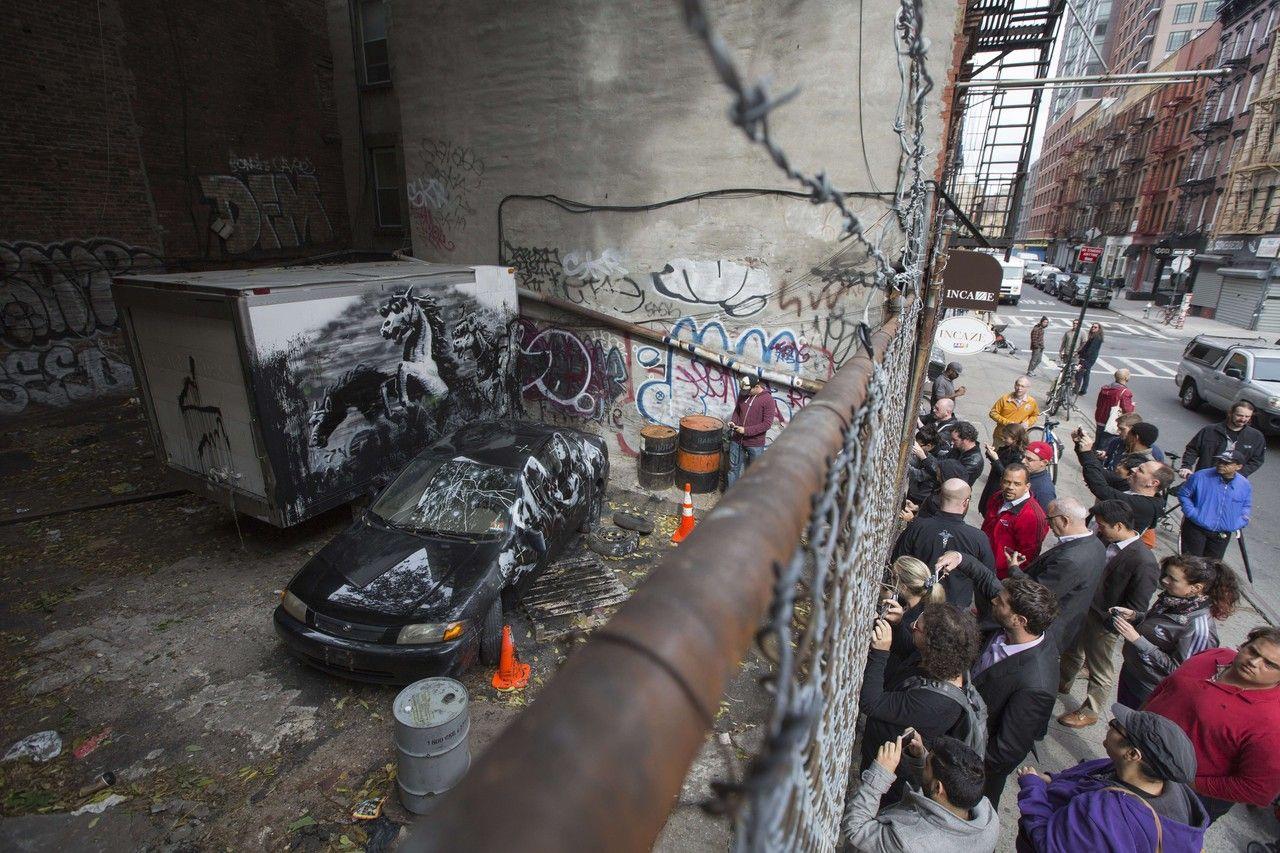 Banksys latest canvas new york city banksy city new