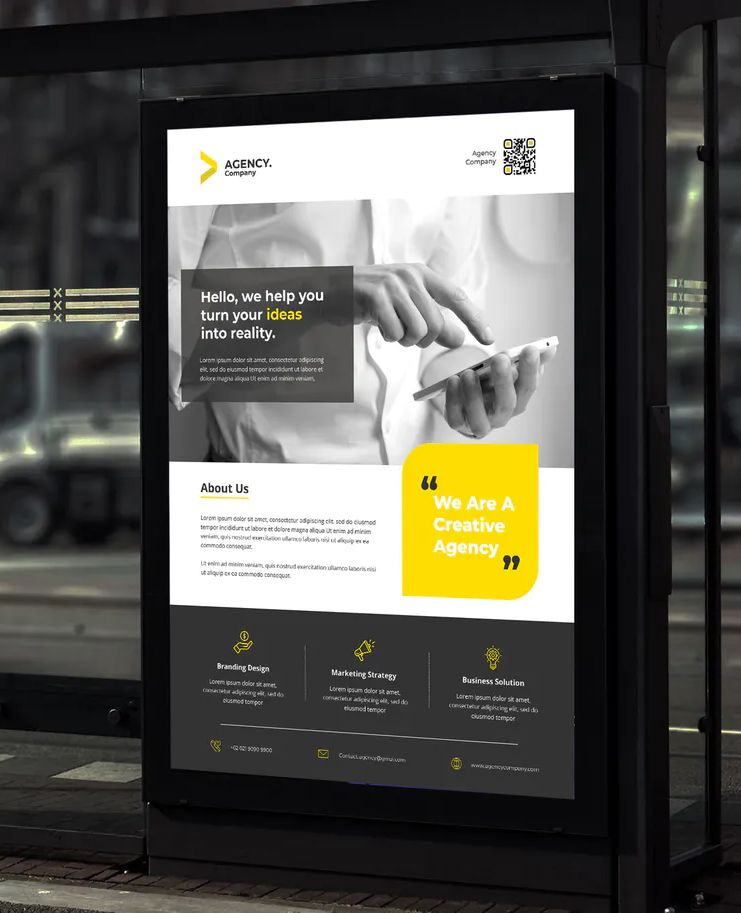 Agency Corporate Poster A3 Template PSD Download