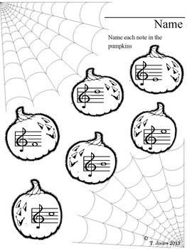 Music Worksheets: Treble Clef Note Reading {Halloween Fun