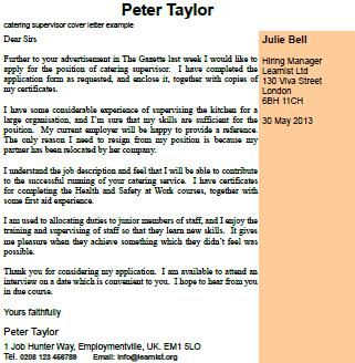 home covering letters catering supervisor cover letter ...