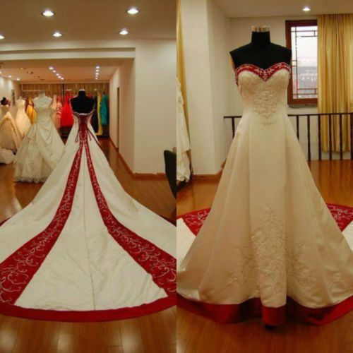 White / Red Satin Embroidery Gothic Wedding Dress Long Bridal Ball Gown Custom   eBay