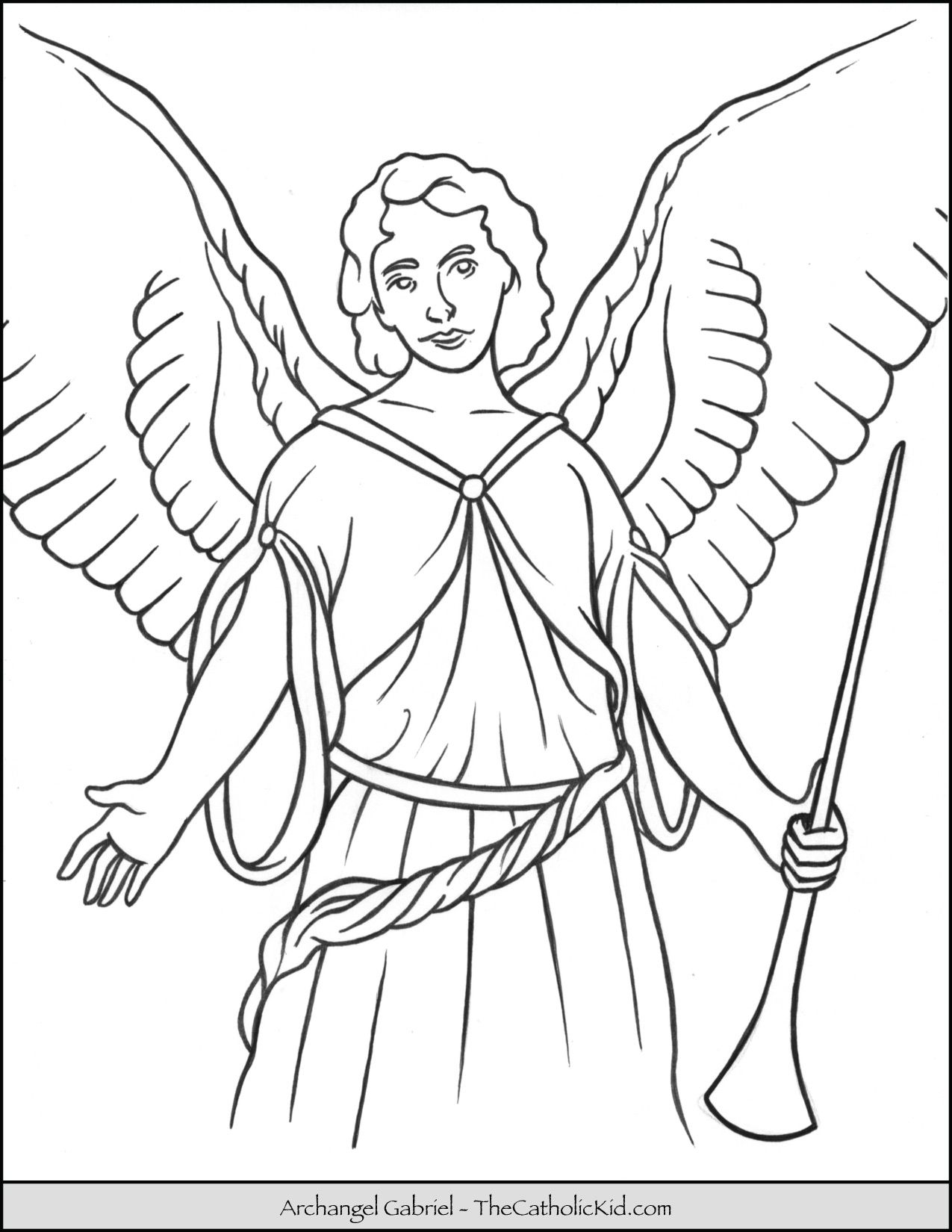 Archangel Gabriel Coloring Page Feastday September 29 Patron Of Messengers Telecommunicati Angel Coloring Pages Monster Coloring Pages Cartoon Coloring Pages