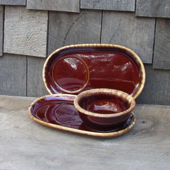 2 Hull Soup Sandwich Plates Bowls Brown Drip Glaze & 2 Hull Soup Sandwich Plates Bowls Brown Drip Glaze   Bowls Hull ...