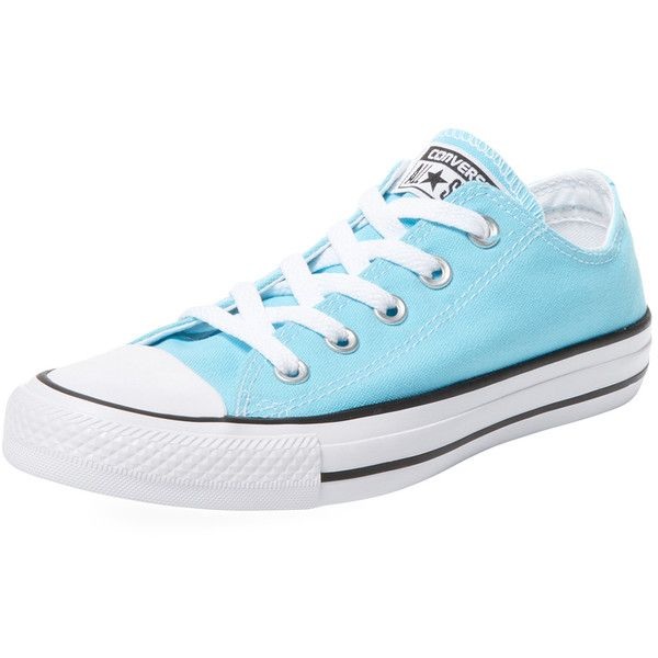 Converse Women's Chuck Taylor Low Top Sneaker - Light/Pastel Blue ($35) ❤ liked on Polyvore featuring shoes, sneakers, blue sneakers, synthetic shoes, low profile shoes, converse footwear and lace up shoes