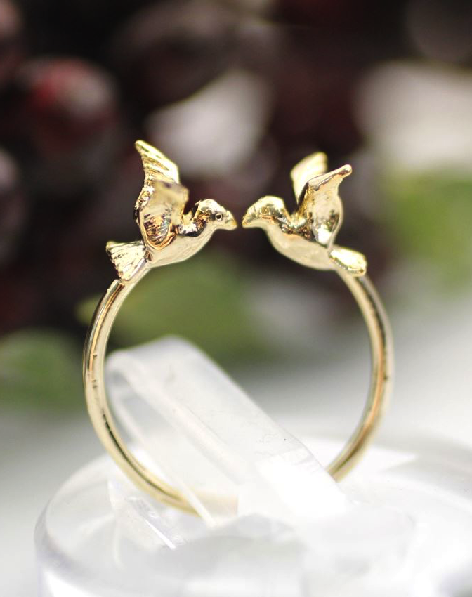 Tiny Twin Bird sparrow adjustable ring