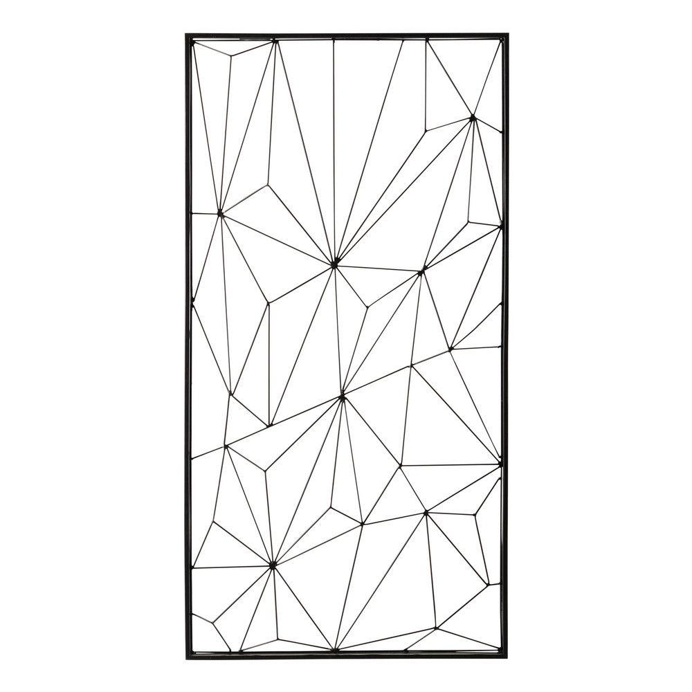 D co murale en m tal noire 62 x 121 cm m tal noir deco for Deco murale noir et blanc