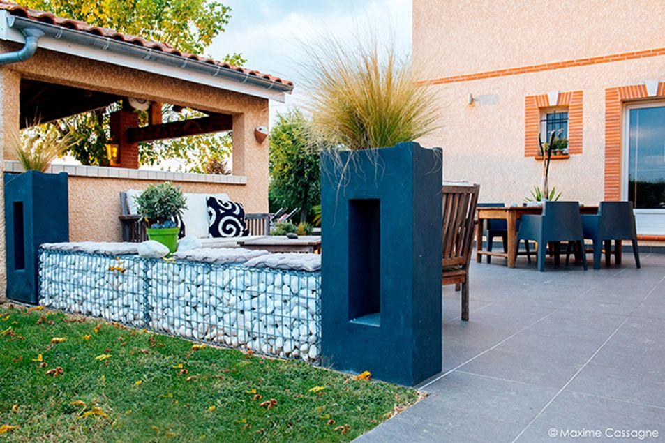 Banquette gabion galets blanc terrasse repas am nagement - Terrasse galets blancs ...