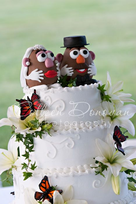 Mr And Mrs Potato Head Cake Topper For A Farmer S Wedding