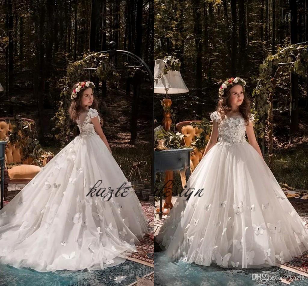 2018 Beautiful Princess Flower Girl Dresses for Weddings Beaded ...