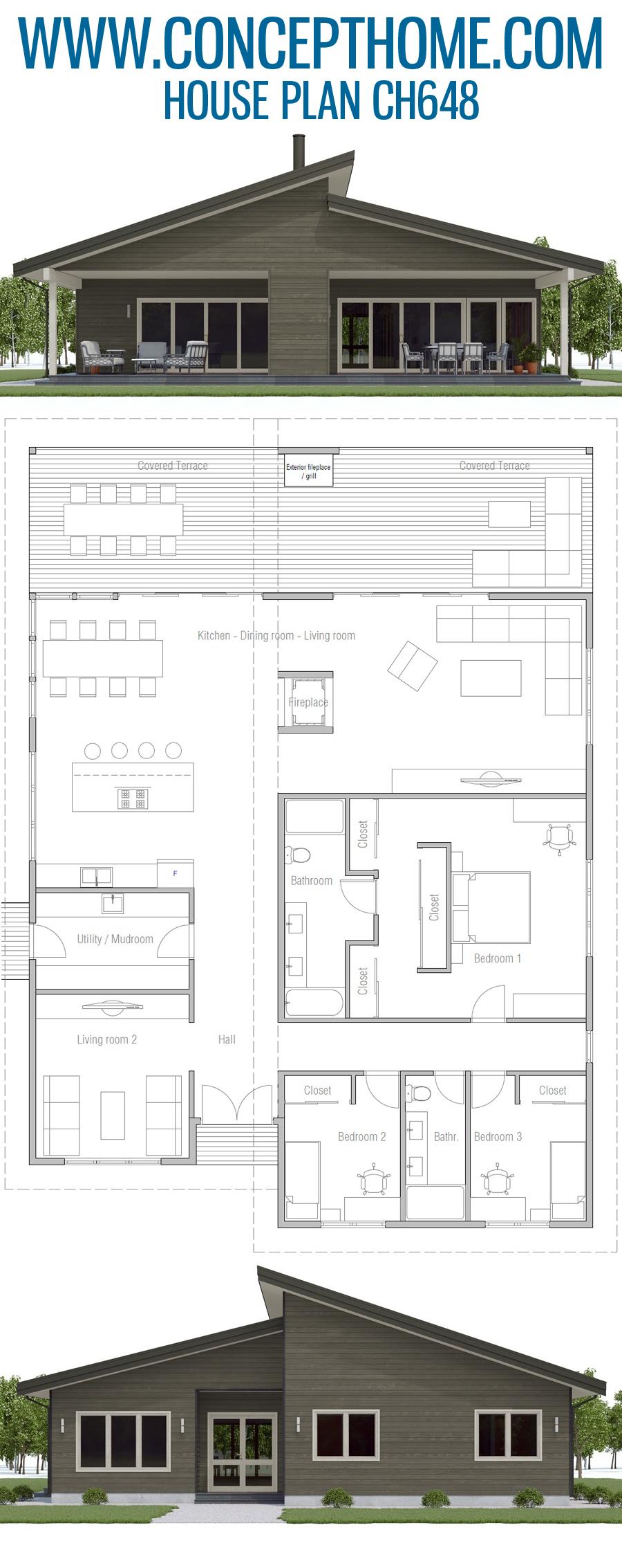 House Plan Ch648 In 2020 House Plans Beachfront House House Plans Farmhouse