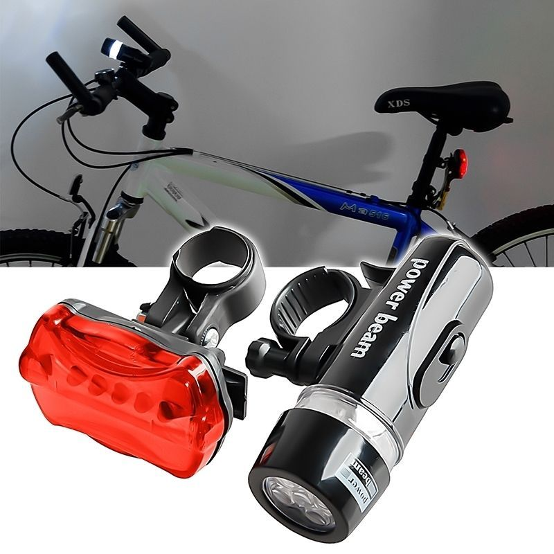 New 5 LED Bicycle Bike Lamp Light Set Bike Front Rear Tail Lights Headlight