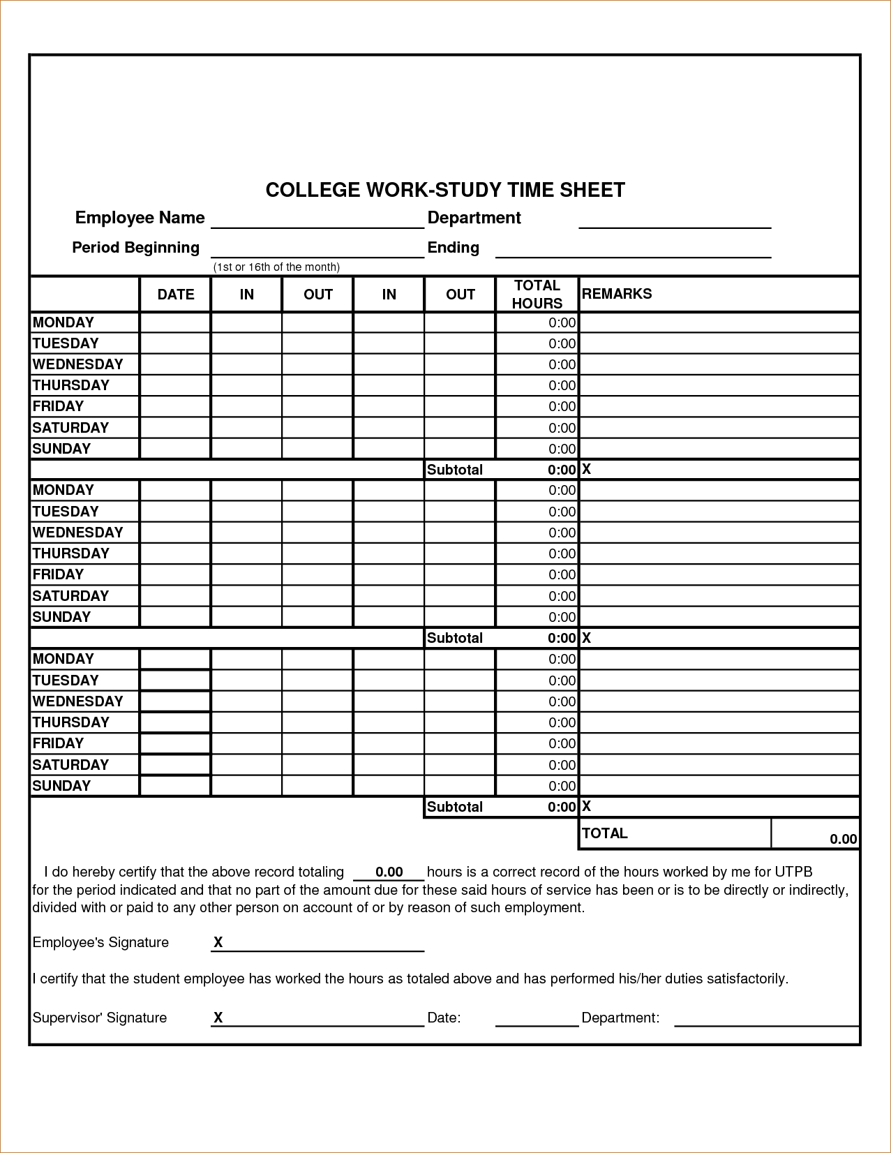 4 Work Time Sheet Timeline Template