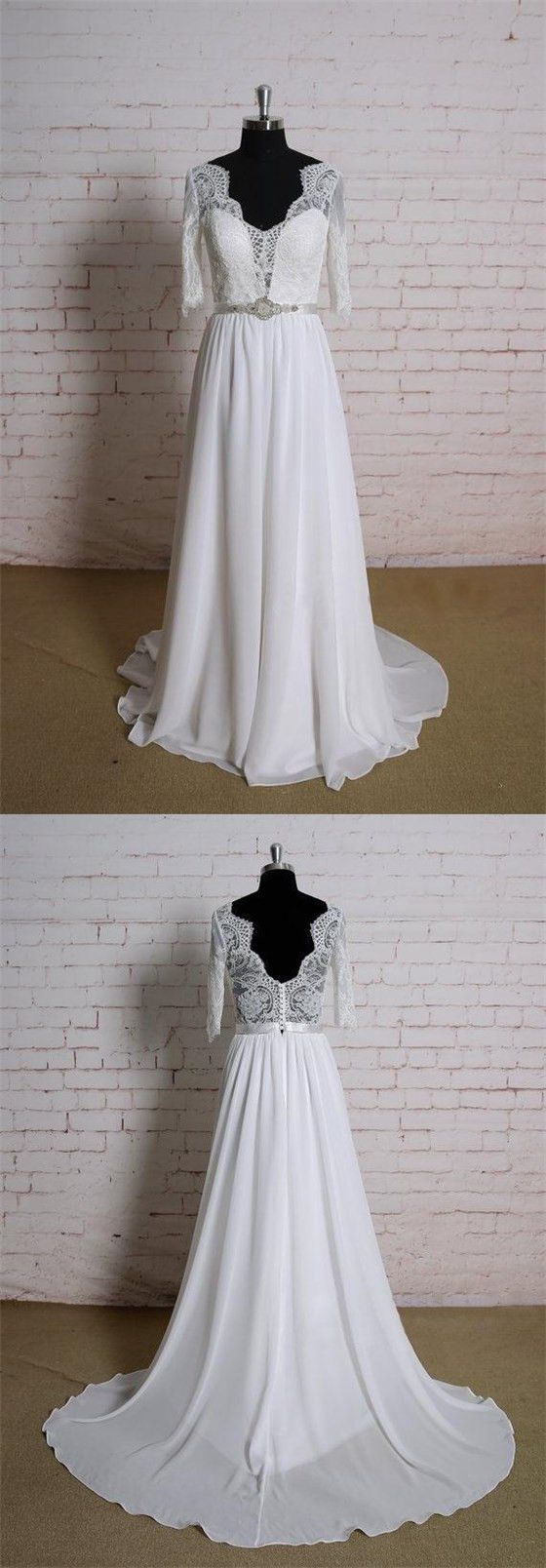 Long sleeves lace cheap beach wedding dresses online wd in
