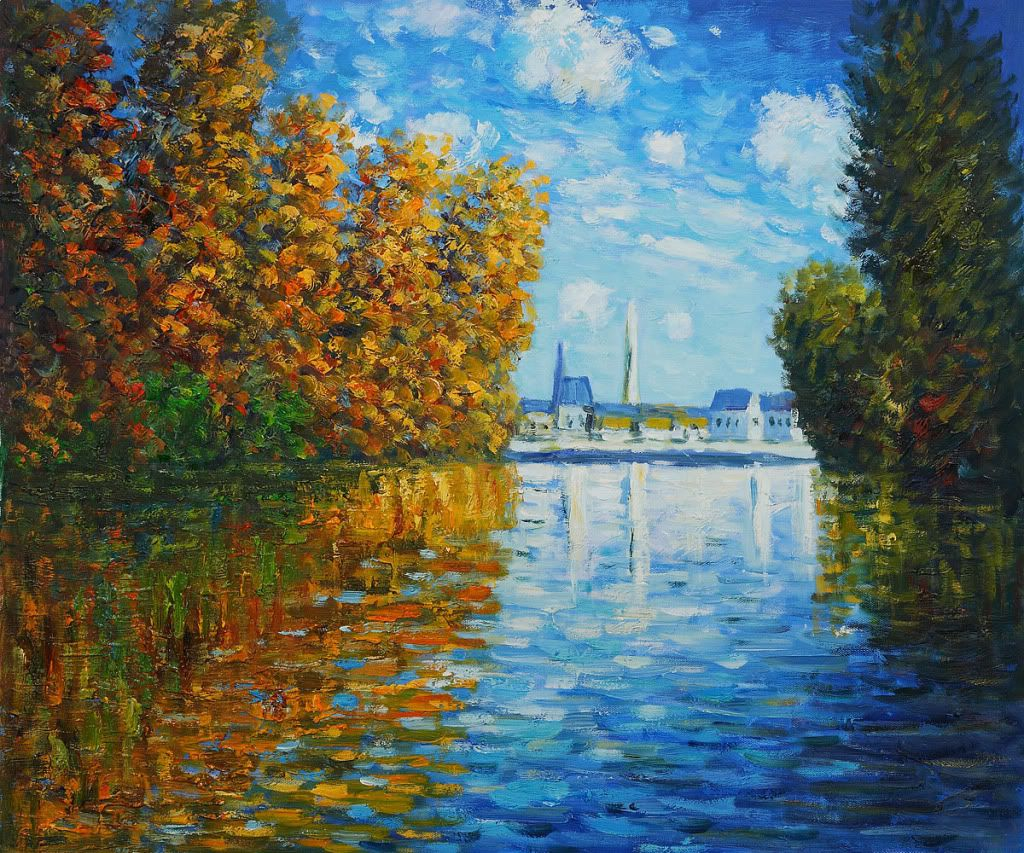 claude monet autumn at argenteuil hand painted oil painting on canvas 20x24 monet claude. Black Bedroom Furniture Sets. Home Design Ideas