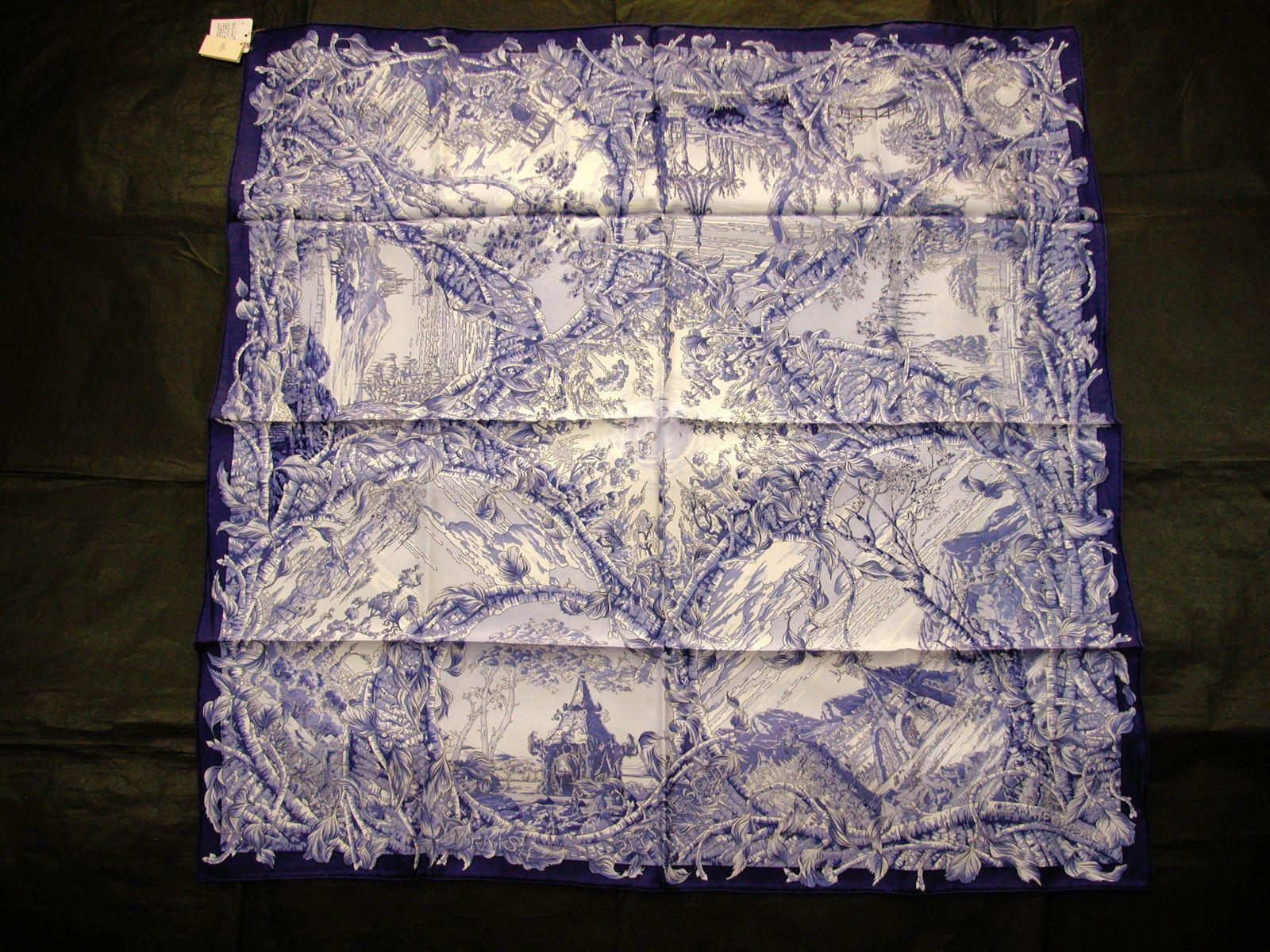 "Hermes Scarf Carre ""Fantasie Pittoresque ""Ink Blue | eBay"