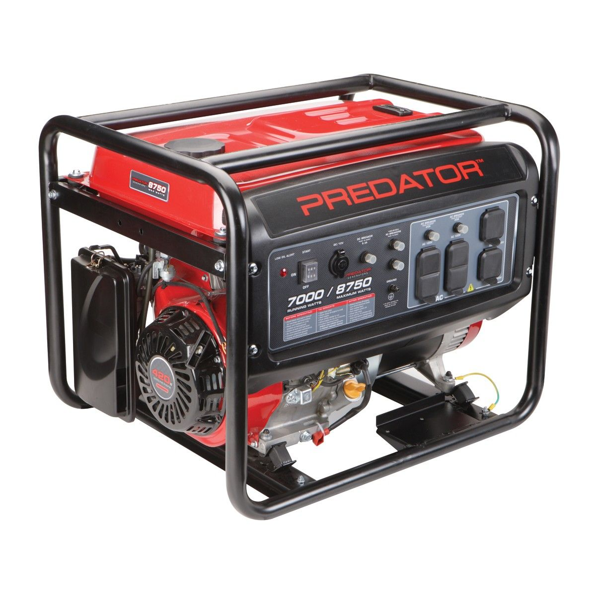 420cc, 8750 Watts Max/7000 Watts Rated Portable Generator