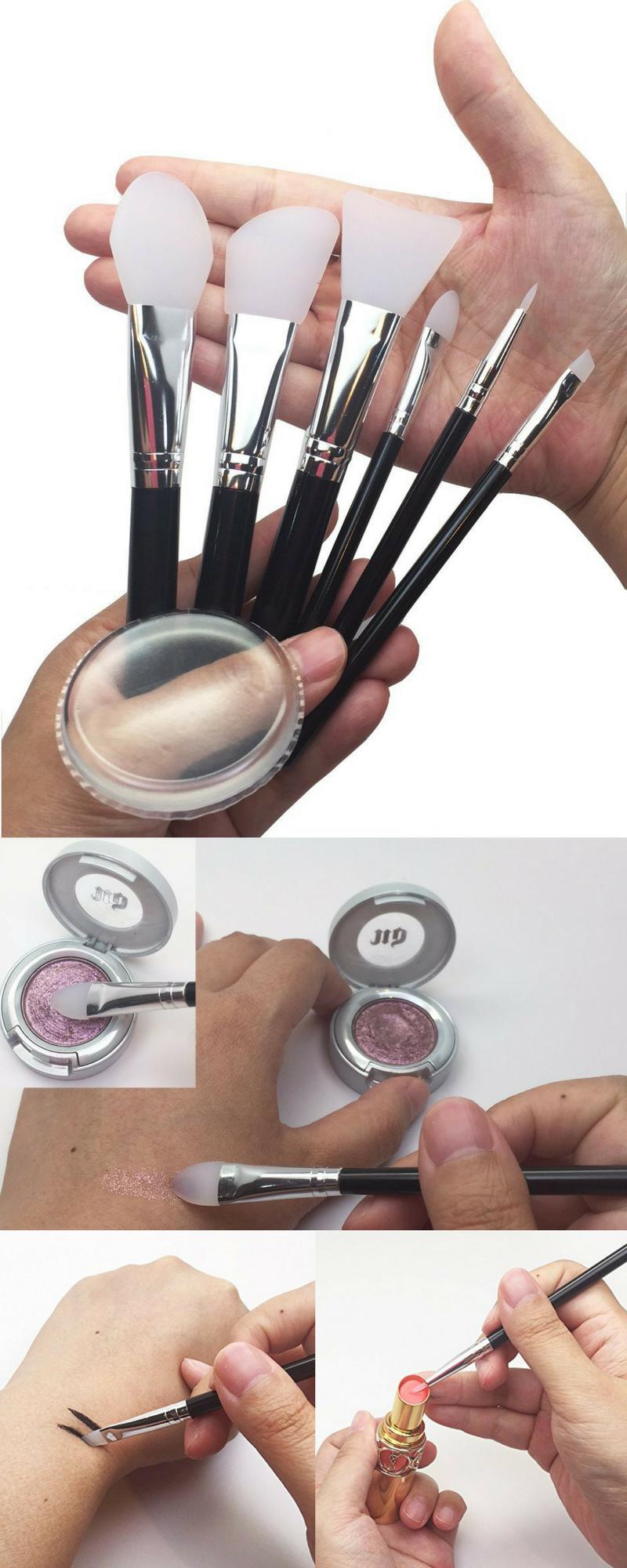 7 Pcs Clear Silicone Sponge Makeup Brush Set + Silisponge