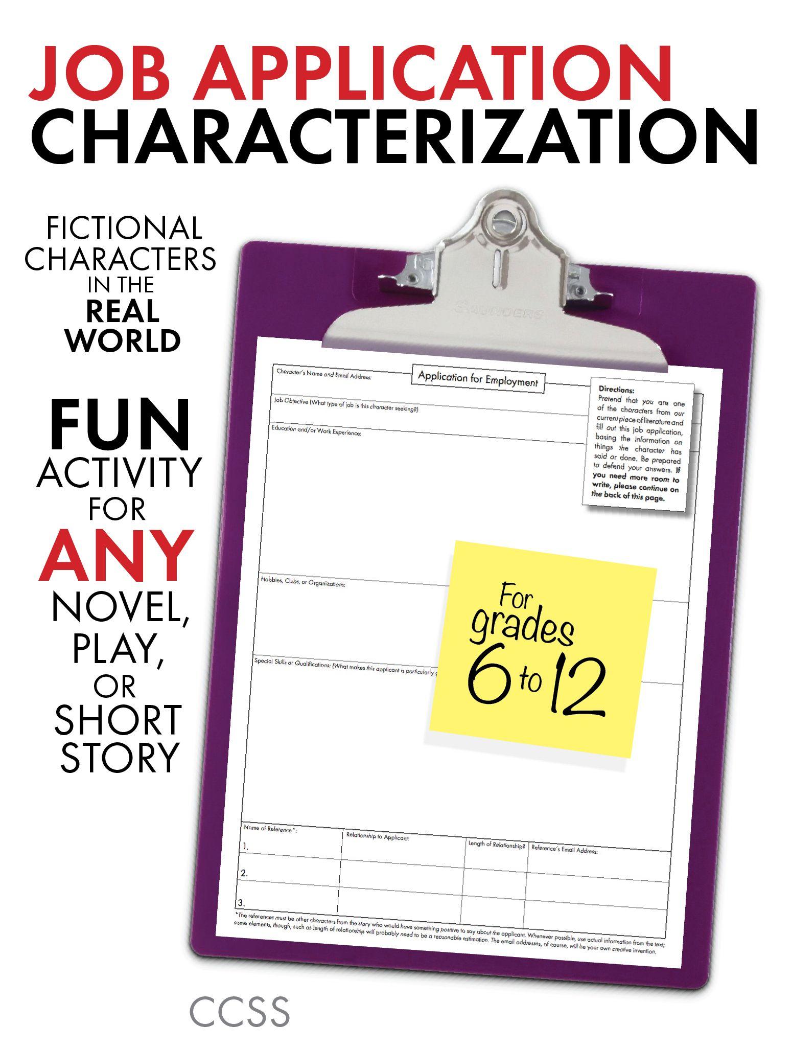 Job Application Characterization Fun Stuff Use With Any Lit Grades 6 12