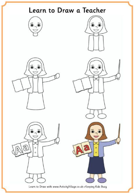 Learn To Draw A Teacher Female Learn To Draw Drawings Easy Drawings For Kids