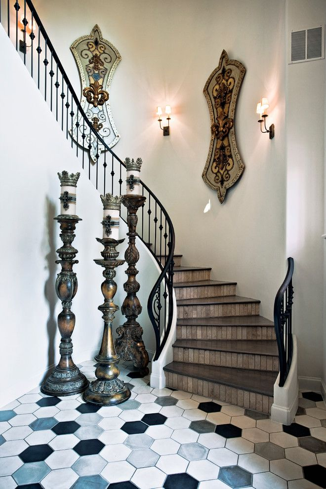 Best Cement Tiles Curved Staircase Metal Railing Sconce Wall 640 x 480