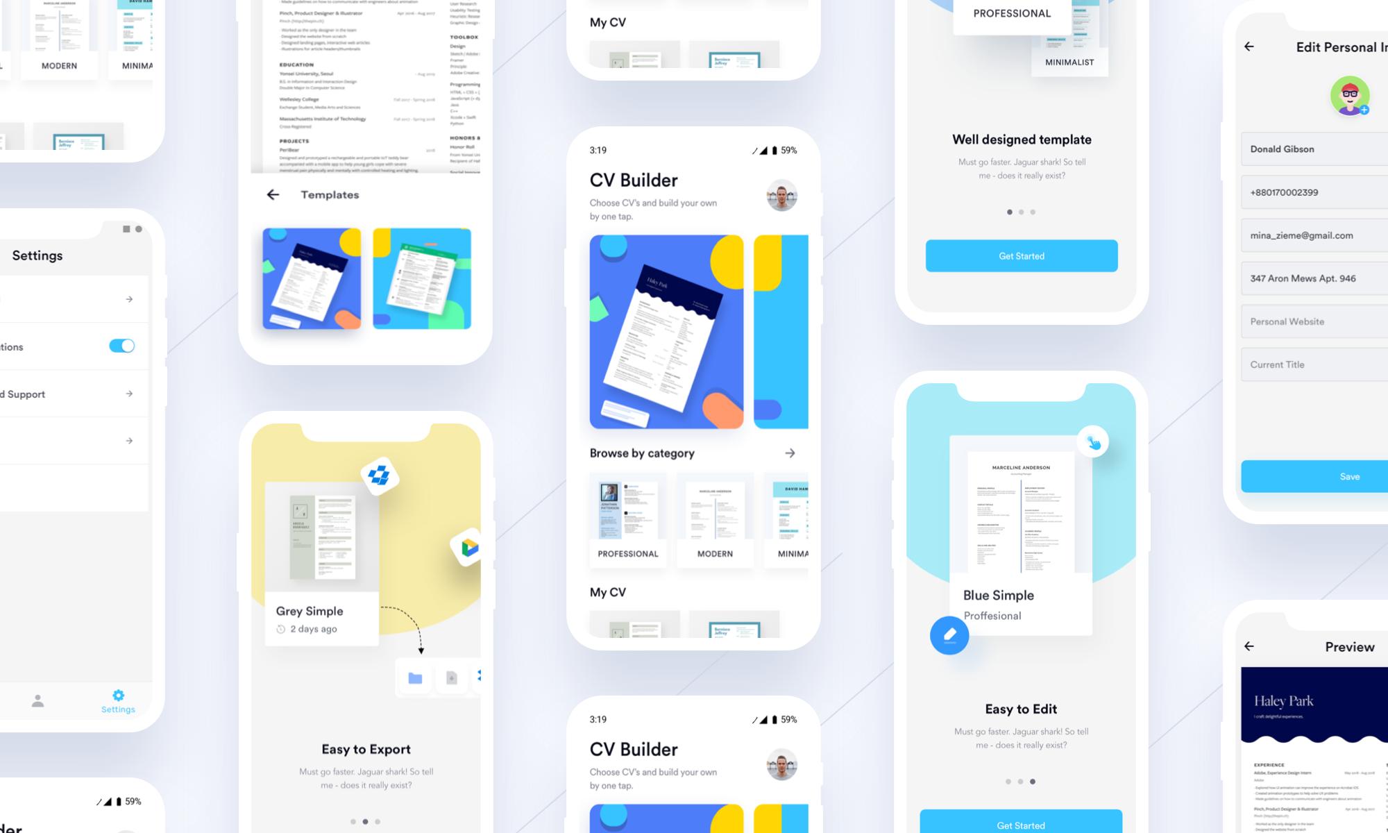 """查看此 Behance 项目 """"Ezy CV/Resume Builder Mobile App"""" https"""