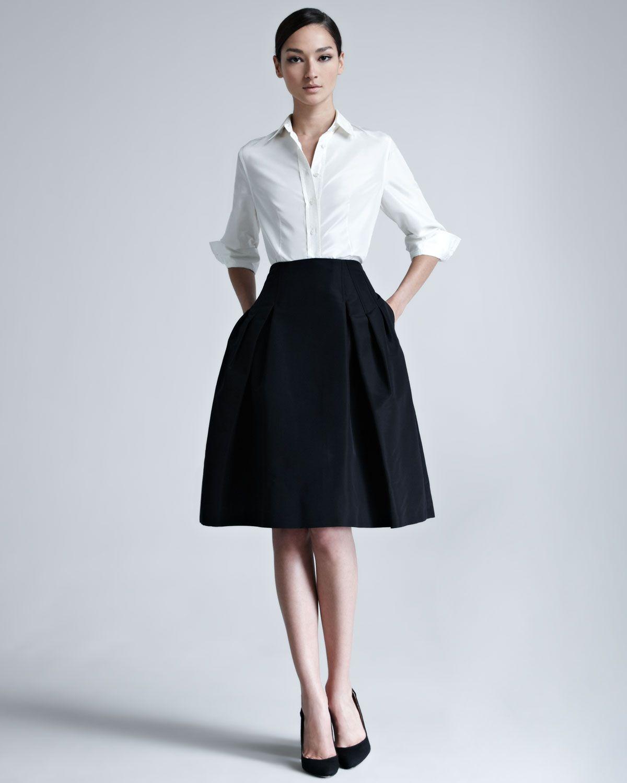 ffa131e550f2c Carolina Herrera Silk Taffeta Shirt   Faille Party Skirt - Neiman Marcus