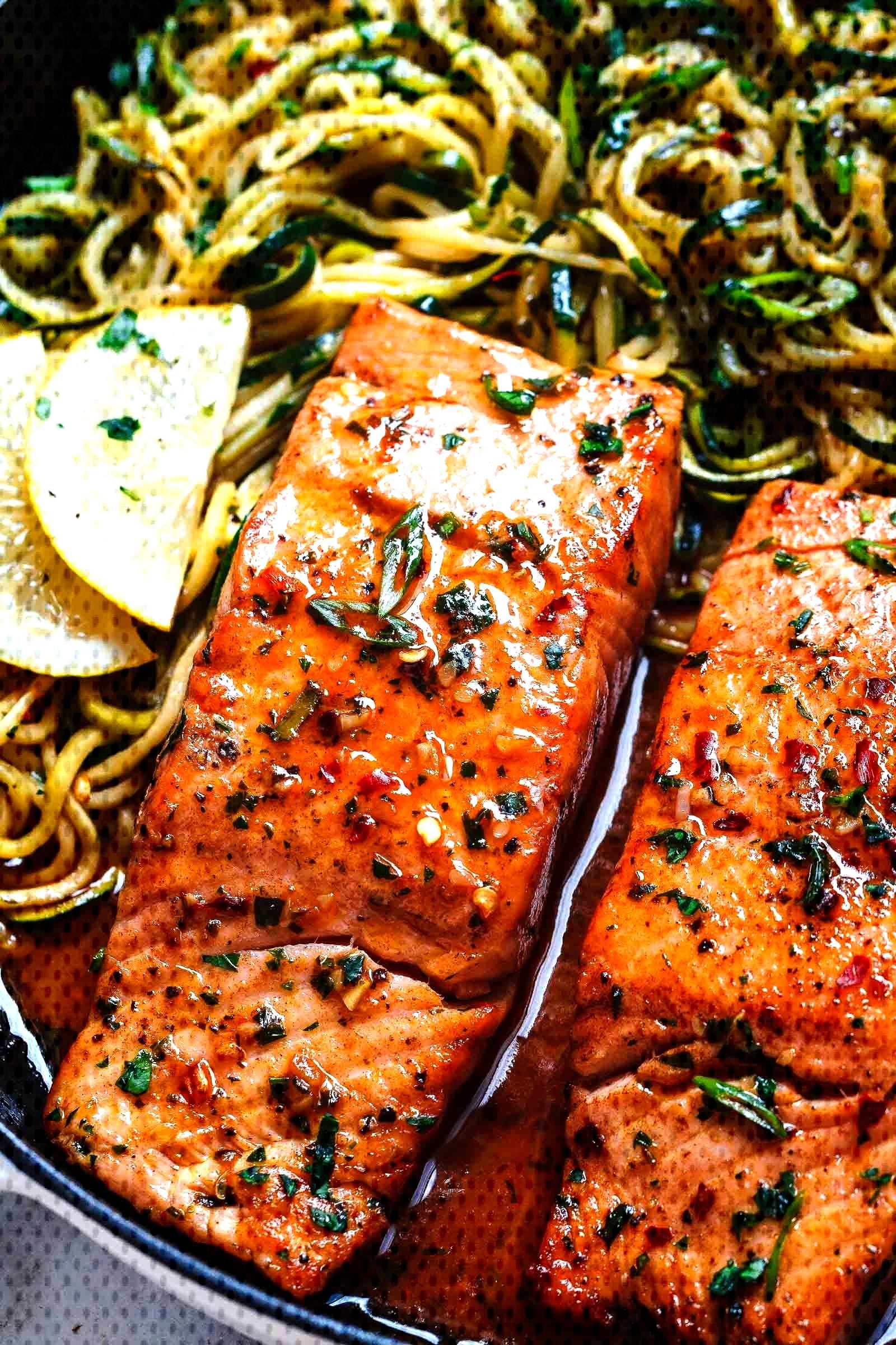 Lemon Garlic Butter Salmon with Zucchini Noodles - Lemon Garlic Butter Salmon with Zucchini Noodle