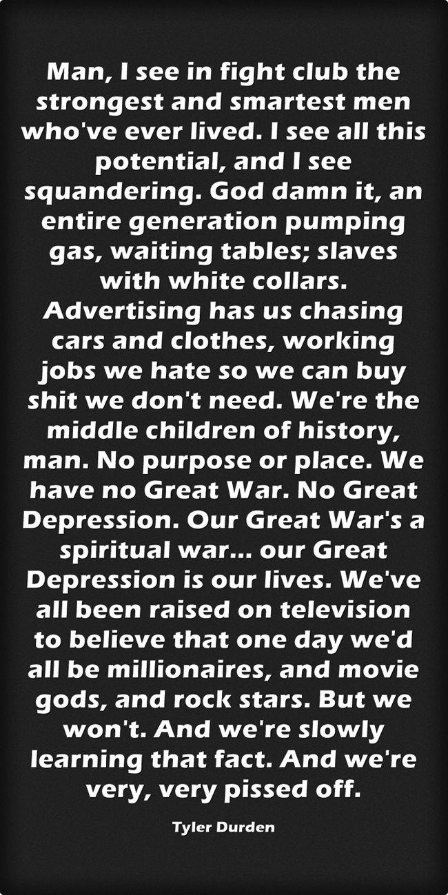 Fight Club Tyler Durden Quotes Tylerdurden Quotes Fight