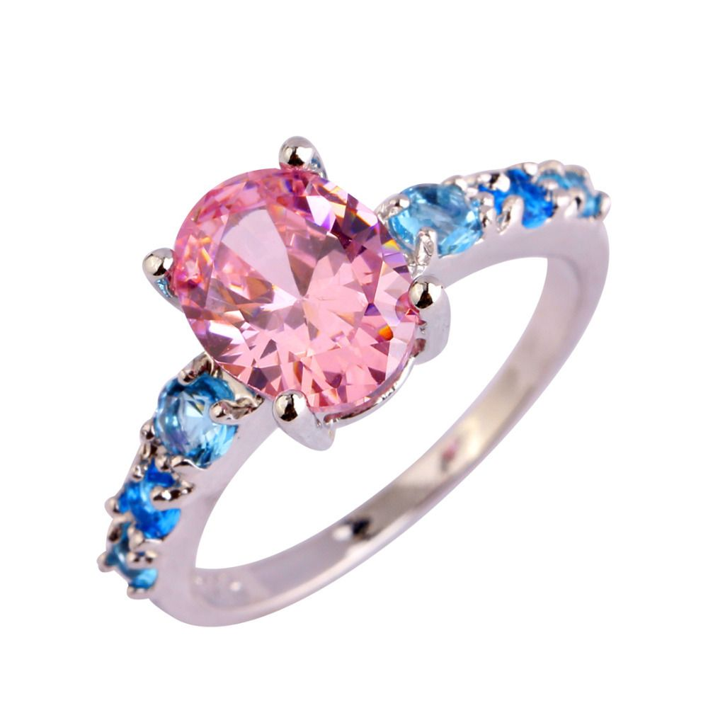 AAA CZ Fashion Jewelry Pink CZ Plated Silver Ring Size 6 7 8 9 10 11 ...