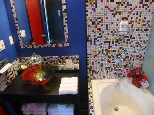 Awesome White And Primary Colored Mosaic Blend! Loving The Red, Yellow, And  Blue Glass Tile Combination In This Modern Bathroom!
