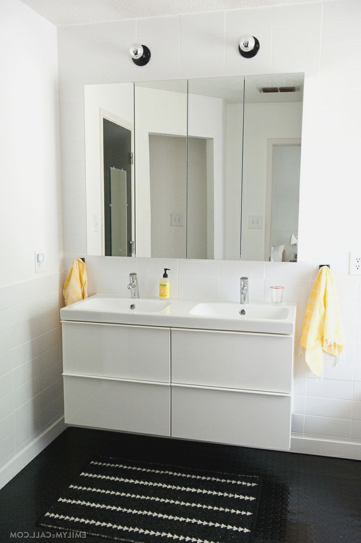 ikea high gloss white master bathroom with ikea godmorgon mirrored medicine cabinets and hd wallpaper frsh
