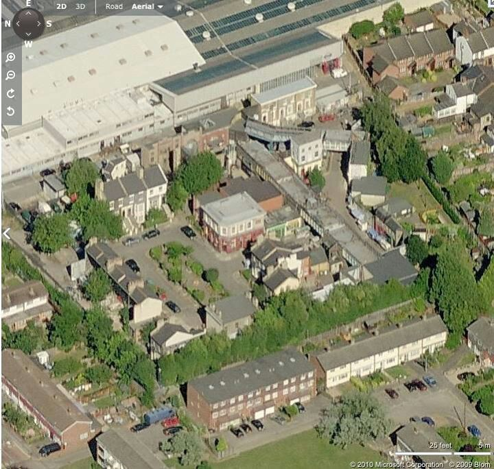 Aerial view of the EastEnders set for Albert Square, Walford, London on