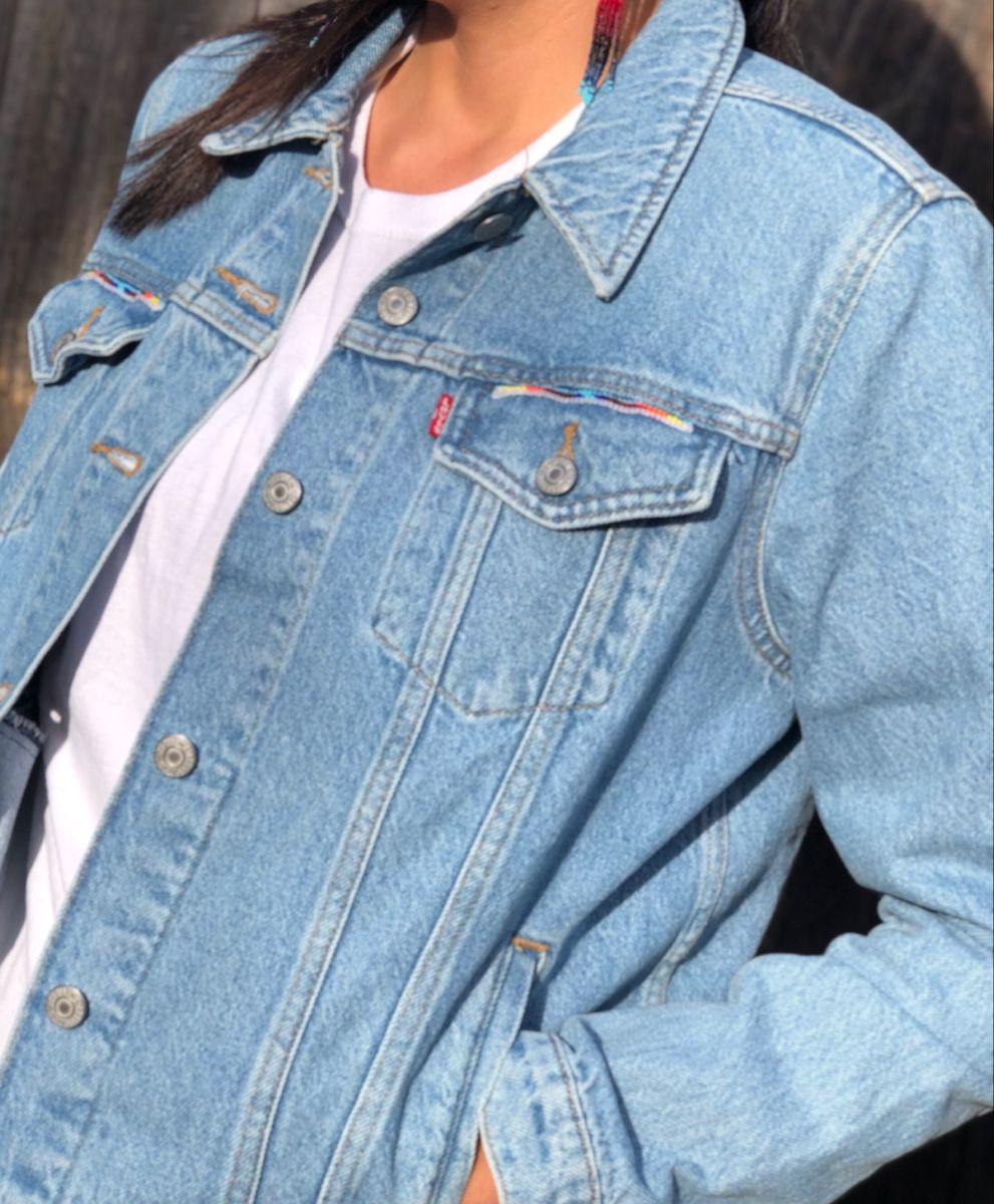 Native American Beaded Jean Jacket Native American Beading Beaded Jacket Native American Inspired [ 1200 x 991 Pixel ]
