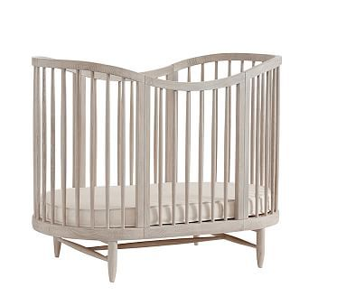 Luna Crib Brushed Fog Wb Oval Crib Cribs Baby Nursery Furniture