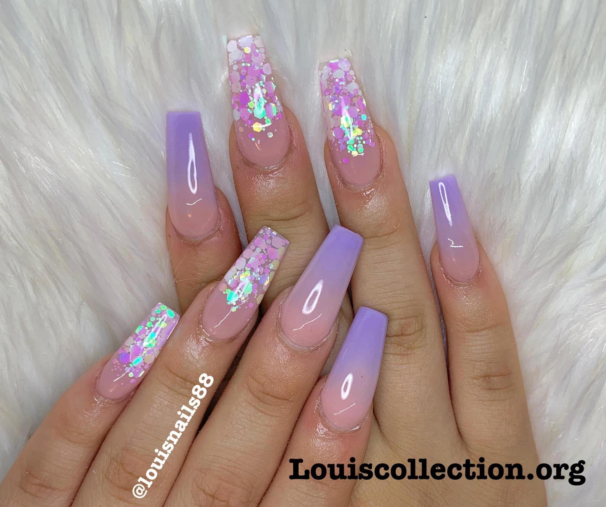 Pinterest Nail Inspo Acrylicnailsideas Glitternailsacrylic In 2020 Purple Acrylic Nails Swag Nails Ombre Acrylic Nails