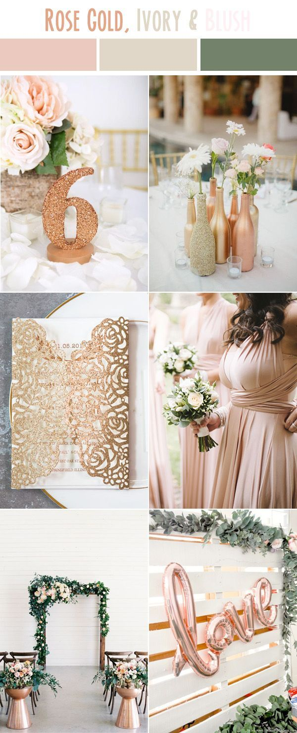 rose gold and ivory white simple modern country neutral wedding ...